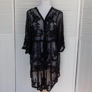 New! Black Sheer Lace Kimono